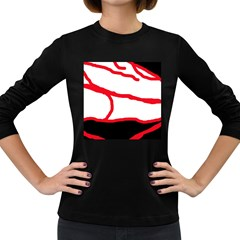 Red, Black And White Design Women s Long Sleeve Dark T Shirts by Valentinaart