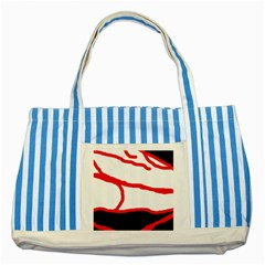 Red, Black And White Design Striped Blue Tote Bag by Valentinaart