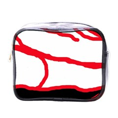 Red, Black And White Design Mini Toiletries Bags by Valentinaart