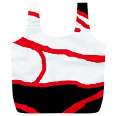 Red, Black And White Design Full Print Recycle Bags (l)  by Valentinaart