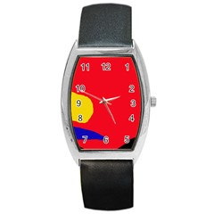 Colorful Abstraction Barrel Style Metal Watch by Valentinaart