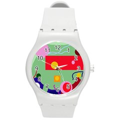 Optimistic Abstraction Round Plastic Sport Watch (m) by Valentinaart