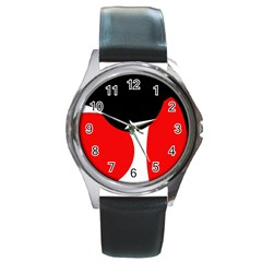 Red, Black And White Round Metal Watch by Valentinaart