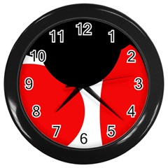 Red, Black And White Wall Clocks (black) by Valentinaart