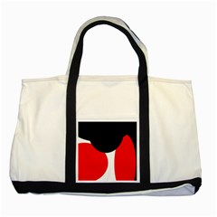 Red, Black And White Two Tone Tote Bag by Valentinaart