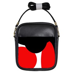 Red, Black And White Girls Sling Bags by Valentinaart