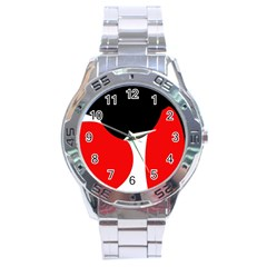 Red, Black And White Stainless Steel Analogue Watch by Valentinaart