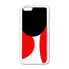 Red, Black And White Apple Iphone 6/6s White Enamel Case by Valentinaart