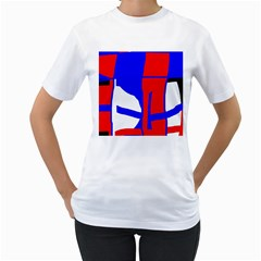 Blue, Red, White Design  Women s T-shirt (white) (two Sided) by Valentinaart