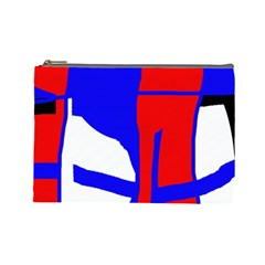 Blue, Red, White Design  Cosmetic Bag (large)  by Valentinaart