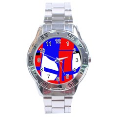 Blue, Red, White Design  Stainless Steel Analogue Watch by Valentinaart