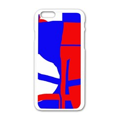Blue, Red, White Design  Apple Iphone 6/6s White Enamel Case by Valentinaart