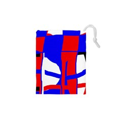 Blue, Red, White Design  Drawstring Pouches (xs)  by Valentinaart