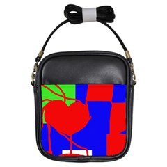 Abstract Hart Girls Sling Bags by Valentinaart
