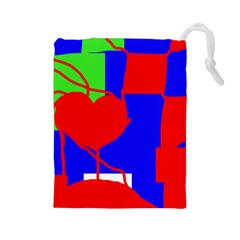 Abstract Hart Drawstring Pouches (large)  by Valentinaart