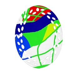 Colorful Abstraction Oval Filigree Ornament (2 Side)  by Valentinaart