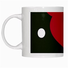 Red, Black And White Abstraction White Mugs by Valentinaart