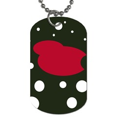 Red, Black And White Abstraction Dog Tag (one Side) by Valentinaart