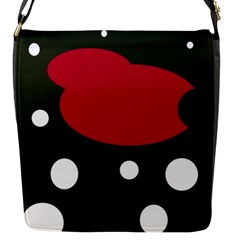Red, Black And White Abstraction Flap Messenger Bag (s) by Valentinaart