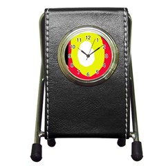Colorful Abstraction Pen Holder Desk Clocks by Valentinaart