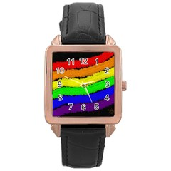 Rainbow Rose Gold Leather Watch  by Valentinaart