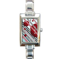 Colorful Lines And Circles Rectangle Italian Charm Watch by Valentinaart