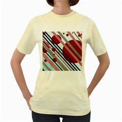 Colorful Lines And Circles Women s Yellow T-shirt by Valentinaart