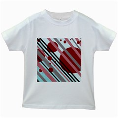 Colorful Lines And Circles Kids White T Shirts by Valentinaart