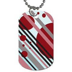 Colorful Lines And Circles Dog Tag (two Sides) by Valentinaart