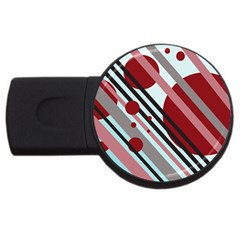 Colorful Lines And Circles Usb Flash Drive Round (2 Gb)  by Valentinaart