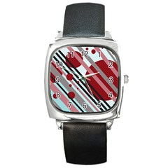 Colorful Lines And Circles Square Metal Watch by Valentinaart