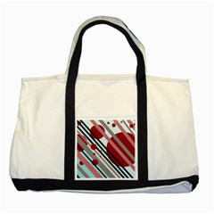 Colorful Lines And Circles Two Tone Tote Bag by Valentinaart