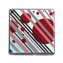 Colorful Lines And Circles Memory Card Reader (square) by Valentinaart