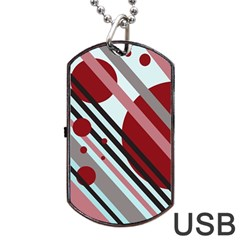 Colorful Lines And Circles Dog Tag Usb Flash (one Side) by Valentinaart