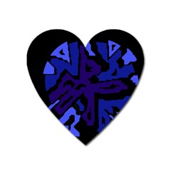 Deep Blue Abstraction Heart Magnet by Valentinaart
