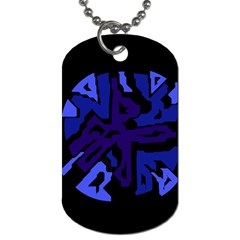 Deep Blue Abstraction Dog Tag (two Sides) by Valentinaart
