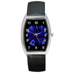 Deep Blue Abstraction Barrel Style Metal Watch by Valentinaart
