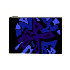 Deep Blue Abstraction Cosmetic Bag (large)  by Valentinaart