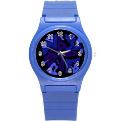 Deep Blue Abstraction Round Plastic Sport Watch (s) by Valentinaart