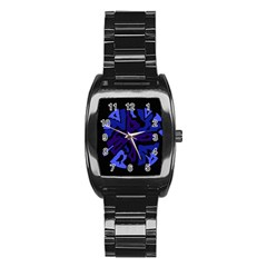 Deep Blue Abstraction Stainless Steel Barrel Watch by Valentinaart