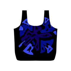 Deep Blue Abstraction Full Print Recycle Bags (s)  by Valentinaart