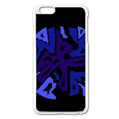 Deep Blue Abstraction Apple Iphone 6 Plus/6s Plus Enamel White Case by Valentinaart