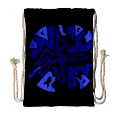 Deep Blue Abstraction Drawstring Bag (large) by Valentinaart
