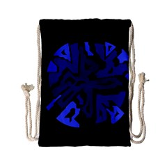Deep Blue Abstraction Drawstring Bag (small) by Valentinaart