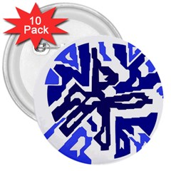 Deep Blue Abstraction 3  Buttons (10 Pack)  by Valentinaart
