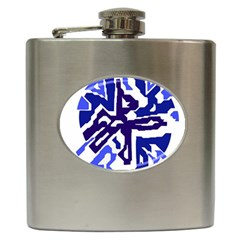 Deep Blue Abstraction Hip Flask (6 Oz) by Valentinaart