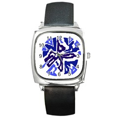 Deep Blue Abstraction Square Metal Watch by Valentinaart