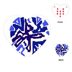 Deep Blue Abstraction Playing Cards (heart)  by Valentinaart