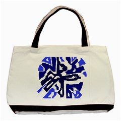 Deep Blue Abstraction Basic Tote Bag by Valentinaart