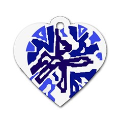 Deep Blue Abstraction Dog Tag Heart (one Side) by Valentinaart